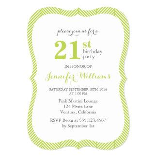 Green Herringbone Pattern Birthday Party Card
