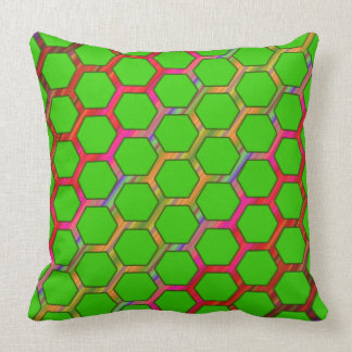 Green Hexagon Design With Colorful Line Pattern Throw Pillow
