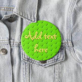 Green hexagon pinback button