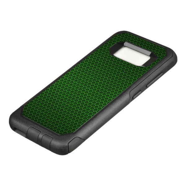 Green Hexagonal Carbon Fiber Honeycomb Mesh OtterBox Commuter Samsung Galaxy S8 Case