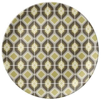 Green hexagonal diamonds dinner plate