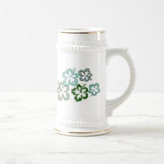Green Hibiscus Blooms Beer Stein
