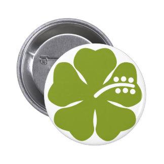 green hibiscus design pinback button