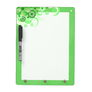 Green Hibiscus Dry-Erase Board Vertical 12x9 Hooks