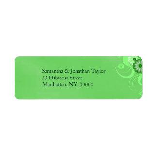 Green Hibiscus Floral Return Address Labels Favors Custom Return Address Label