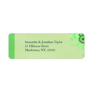 Green Hibiscus Floral Return Address Labels Favors Labels
