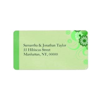 Green Hibiscus Floral Return Address Labels Favors Custom Address Label