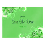 Green Hibiscus Floral Save The Date Announcements Postcard
