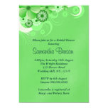 Green Hibiscus Floral Wedding Bridal Shower Invite Personalized Announcement