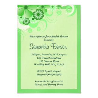 Green Hibiscus Floral Wedding Bridal Shower Invite Announcement