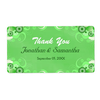 Green Hibiscus Floral Wedding Favor Favour Labels Shipping Labels