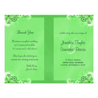 "Green Hibiscus Floral Wedding Program Templates 8.5"" X 11"" Flyer"