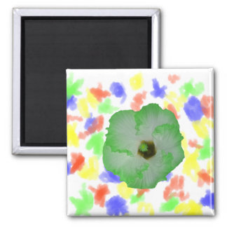 Green hibiscus flower 2 inch square magnet