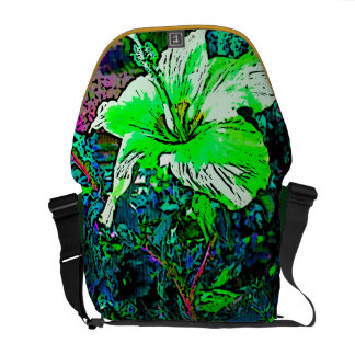 Green Hibiscus Flower Courier Bag