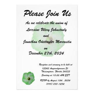 Green hibiscus flower custom invitation
