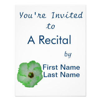 Green hibiscus flower custom invite