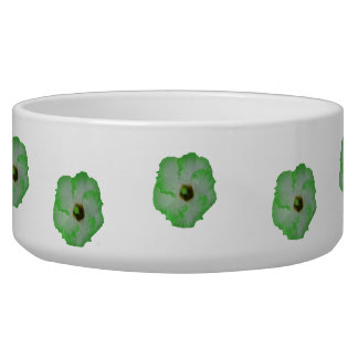 Green hibiscus flower dog bowl