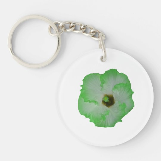 Green hibiscus flower keychain