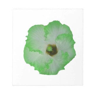 Green hibiscus flower notepad