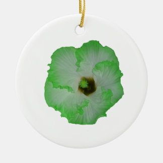 Green hibiscus flower Double-Sided ceramic round christmas ornament