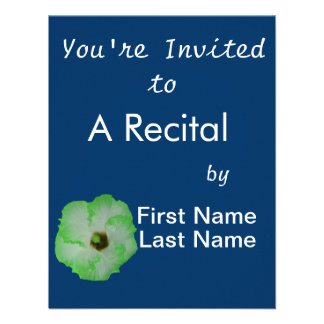 Green hibiscus flower personalized invitation
