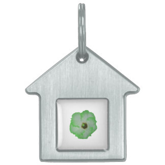 Green hibiscus flower pet name tags
