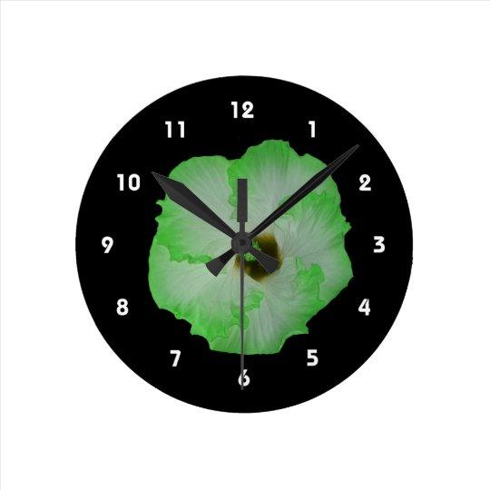 Green hibiscus flower round clock