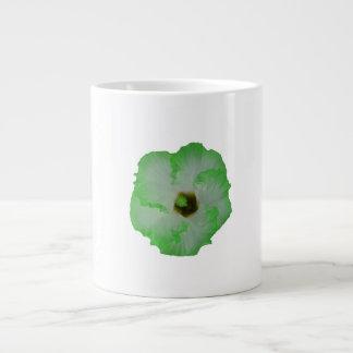 Green hibiscus flower 20 oz large ceramic coffee mug