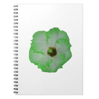 Green hibiscus flower spiral notebook