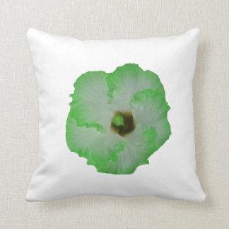 Green hibiscus flower throw pillows