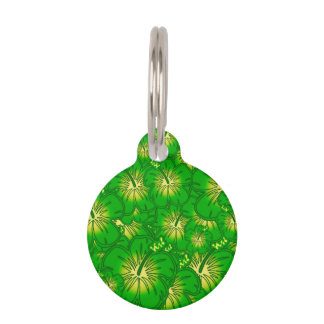 Green hibiscus pet ID tag
