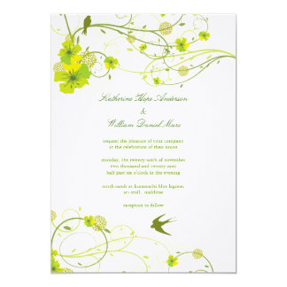Green Hibiscus Swirl & Swallows Wedding Invite Cards