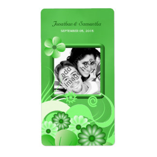 Green Hibiscus Wedding Big Photo Favor Wine Label