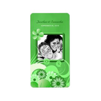Green Hibiscus Wedding Photo Favor Wine Labels Custom Address Label
