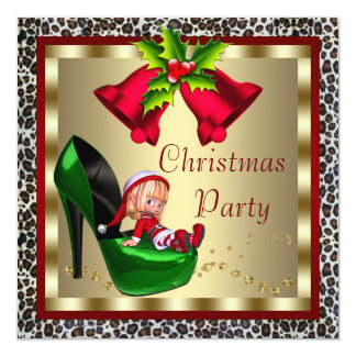 Green High Heel Shoes Leopard Christmas Party Card
