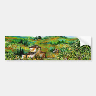 GREEN HILLS AND OLIVE TREES IN TUSCANY LANDSCAPE BUMPER STICKER