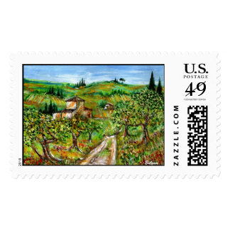 GREEN HILLS AND OLIVE TREES IN TUSCANY LANDSCAPE POSTAGE