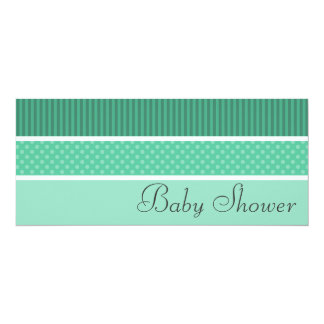 """Green Hip Stripes and Dots Baby Shower Invitations 4"""" X 9.25"""" Invitation Card"""