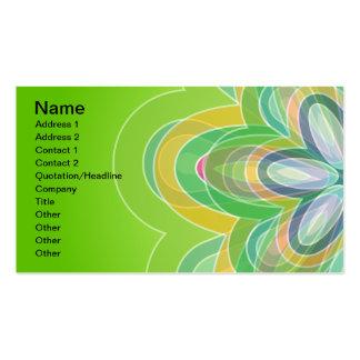 Green Hippie Flower vector blues oranges white Business Card