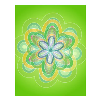 Green Hippie Flower vector blues oranges white Flyer