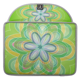 Green Hippie Flower vector blues oranges white Sleeves For MacBook Pro