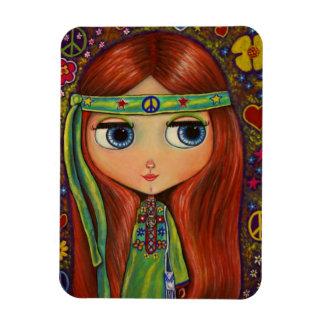 Green Hippie Girl Doll Flower Power Peace Rectangular Photo Magnet