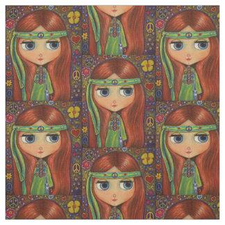 Green Hippie Girl Peace Sign Flowers Headband Fabric