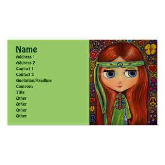 Green Hippie with Peace Sign Headband Business Cards