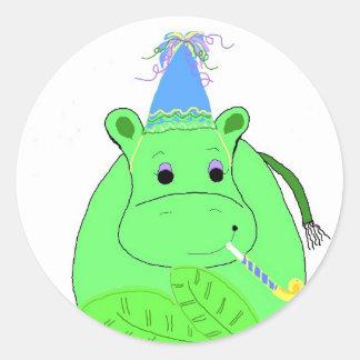 Green Hippo Birthday Classic Round Sticker