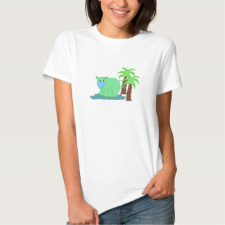 Green Hippo in the Water T Shirt