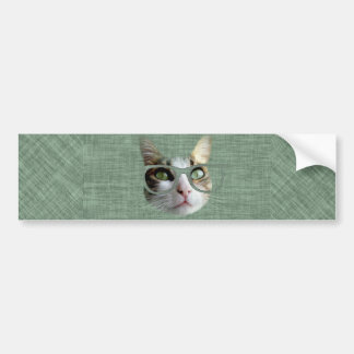 Green Hipster Cat With an Oil Touch Bumper Sticker