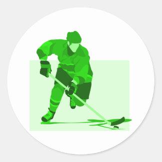 Green Hockey Logo Classic Round Sticker