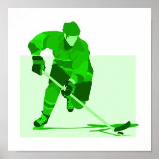 Green Hockey Logo Poster