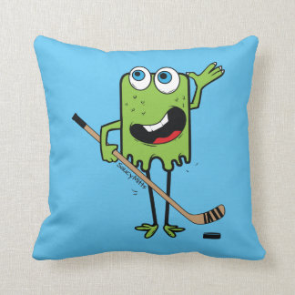 Green Hockey Monster Reversible Throw Pillow